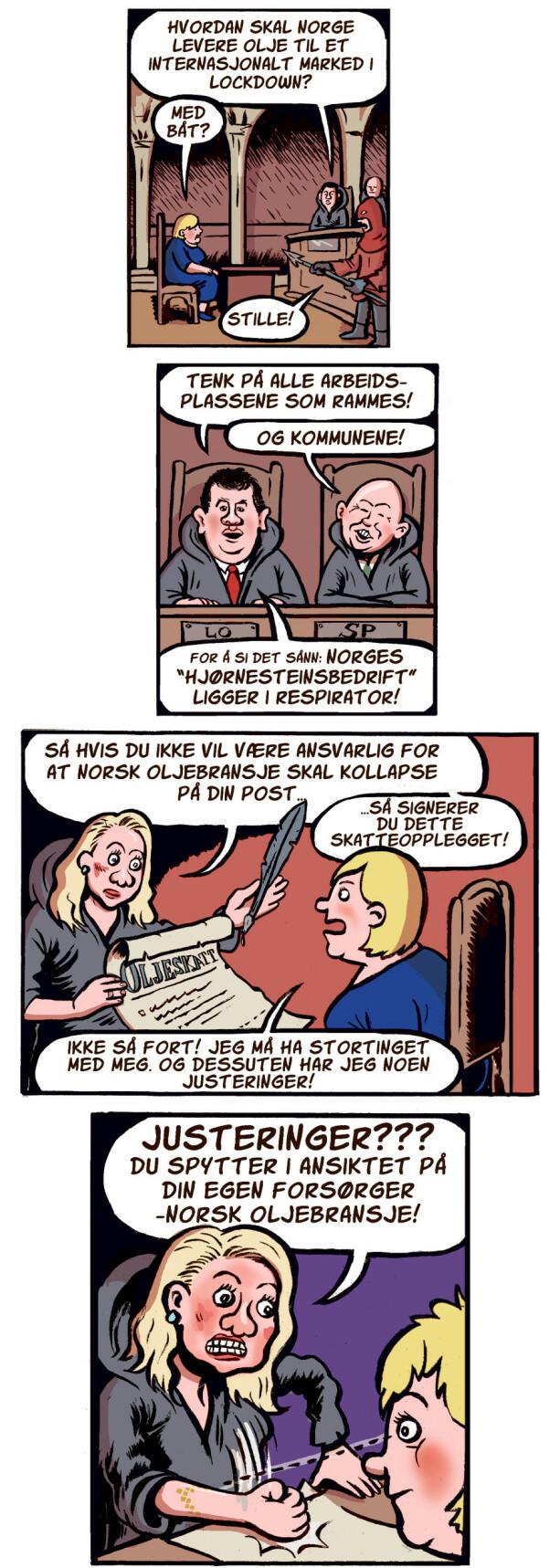 image: Hysj, Erna. Røkke snakker