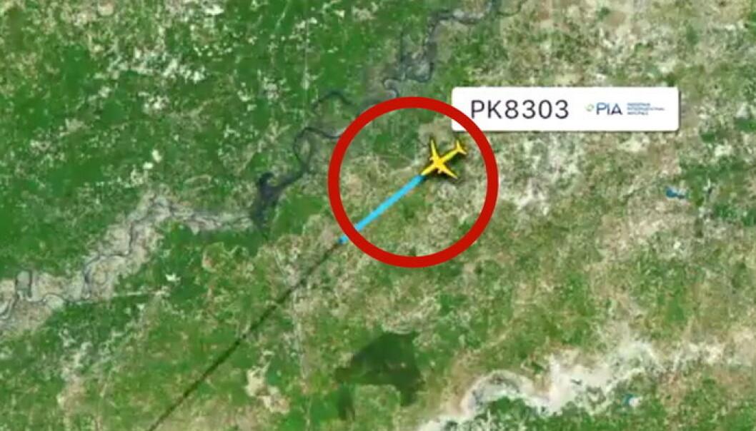 Her forsvinner flyet fra radaren