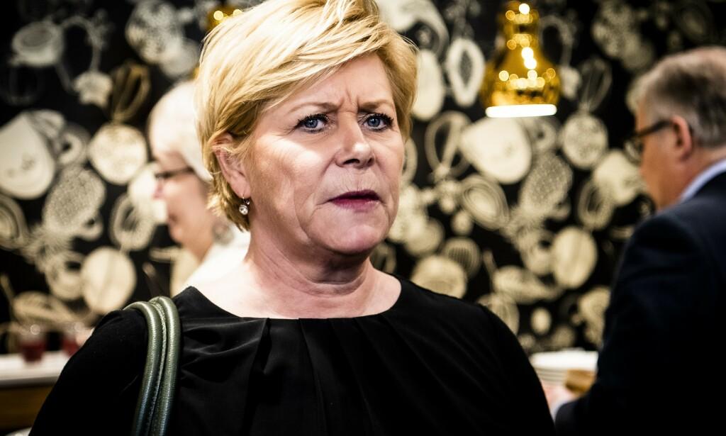 REAGERER: Frp-leder Siv Jensen Foto: Lars Eivind Bones / Dagbladet