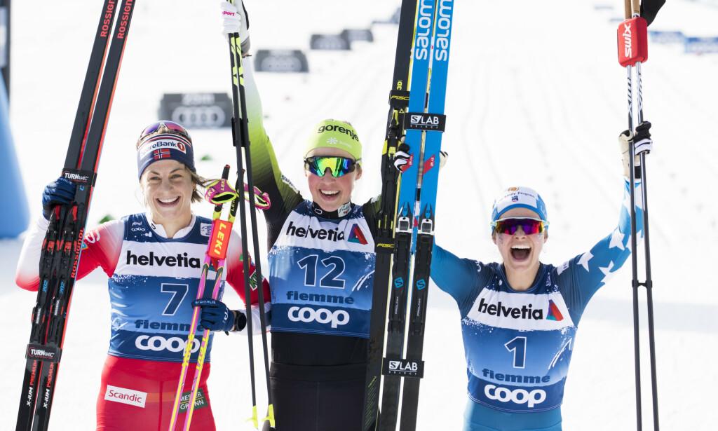 SLOVENSK SUKSESS: Anamarija Lampic vant en etappe under Tour de Ski i vinter foran Astrid Uhrenholdt Jacobsen og Jessica Diggins. Foto: Terje Pedersen / NTB scanpix
