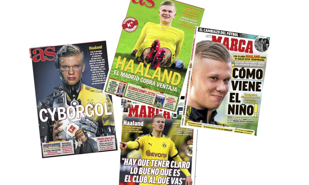 Erling Braut Haaland er et hett navn i Spania. Forsidene er fra landets to mest leste aviser AS og Marca fra den siste tiden. Foto: Montasje / NTB scanpix