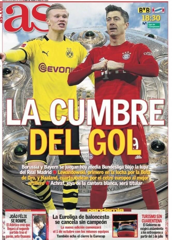 DUELL: Hele Fotball-Europa vil følge duellen mellom Erling Braut Haaland og Robert Lewandowski i kveld. Her dagens førsteside i den spanske storavisa AS.