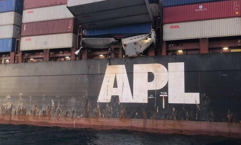 PREKÆRT: Slik så det ut ombord i containerskipet «APL England» da havnemyndigheten AMSA tok sine bilder. Foto: AMSA