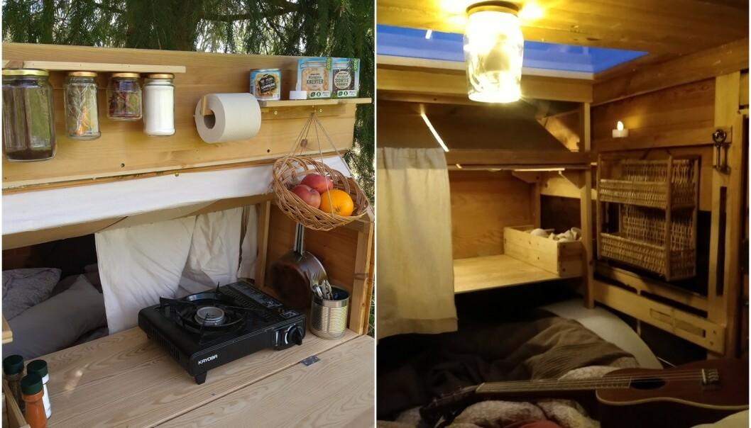 SMARTE LØSNINGER: Paret har brukt syltetøyglass til oppbevaring av mat og som taklampe. FOTO: Privat