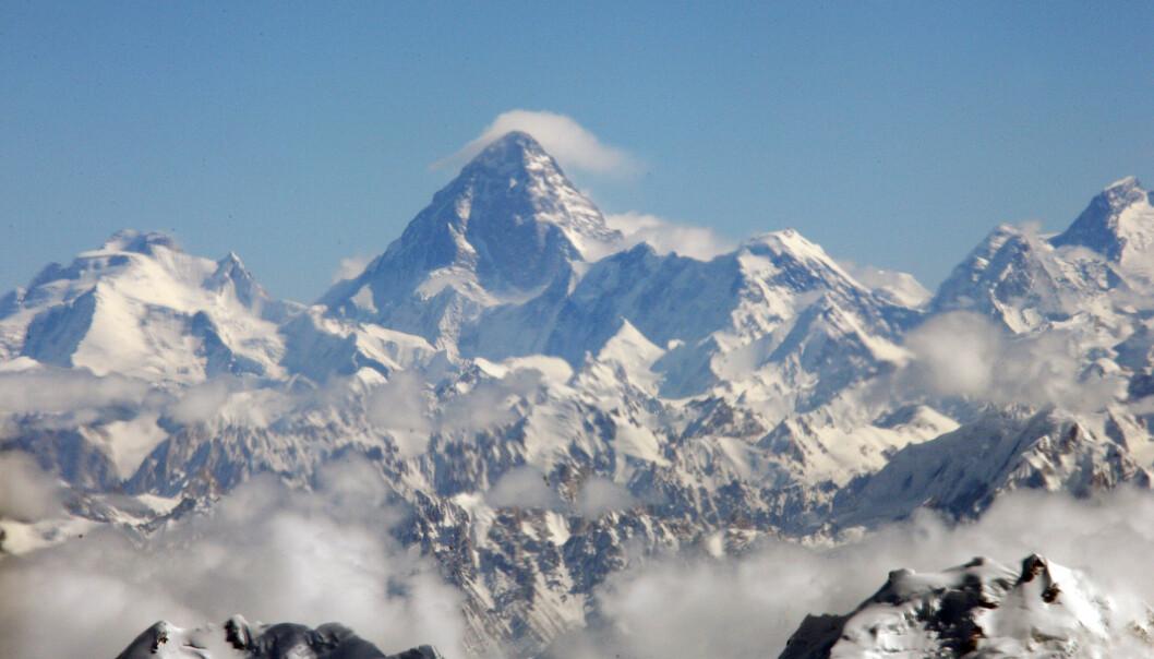 KREVENDE OG FARLIG: K2, som er en del av Karakoram-fjellkjeden mellom Pakistan og Kina, blir ansett som en svært krevende topp å nå. Det var hit Cecilie Skog, ektemannen Rolf Bae og flere andre nordmenn forsøkte å bestige i 2008. FOTO: NTB scanpix