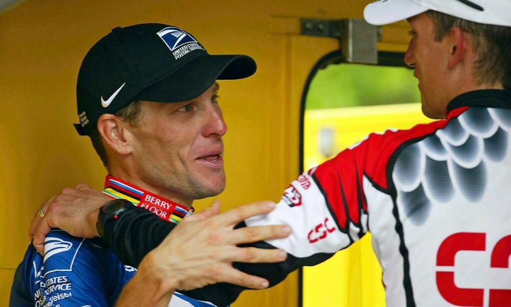 DÅRLIG STEMNING: Forholdet mellom Lance Armstrong og Tyler Hamilton ble svært anspent. Foto: EPA/NTB Scanpix