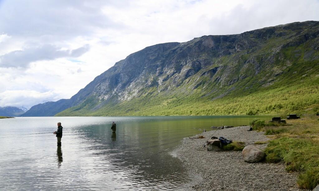 Fiskelykke: Ved Gjende er det mulig å fiske, og bakgrunnen ligger Besseggen. Foto: Odd Roar Lange/The Travel Inspector