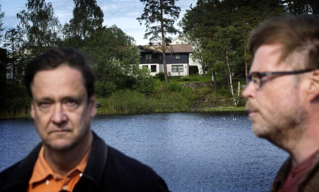 UNDRENDE: John Christian Elden (t.v.) og Jørn Lier Horst har vondt for å forstå at politiet arresterte Tom Hagen. Selve pågripelsen og måten den skjedde på virker svært underlig, sier Elden og Horst. Foto: Henning Lillegård / Dagbladet