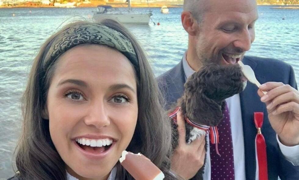 AVSLØRER: Den 17. mai kunne Amalie Iuel og Aksel Lund Svindal avsløre at de hadde funnet kjærligheten. Nå letter sistnevnte på sløret om hvordan forholdet ble til. Foto: Privat