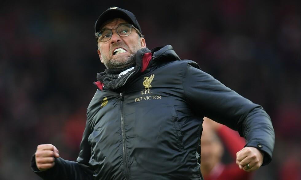 CRUISER MOT GULLET: Jürgen Klopp er bare uker unna å sikre Liverpool det første seriegullet på 30 år. Foto: NTB scanpix
