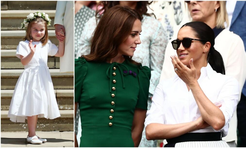 UENIGHETER: Hertuginne Kate og hertuginne Meghan skal ha hatt flere store diskusjoner før sistnevnte giftet seg med prins Harry. Blant annet om hvorvidt brudepikene skulle ha på strømpebukse i solsteika eller ikke. Foto: NTB Scanpic