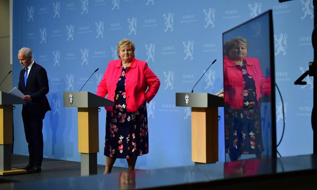 NYE RÅD: Statsminister Erna Solberg legger fram planen for sommerferien fredag. Tidligere fredag presenterte hun den nye planen for å få Norge ut av coronakrisa. Foto: LARS EIVIND BONES / DAGBLADET