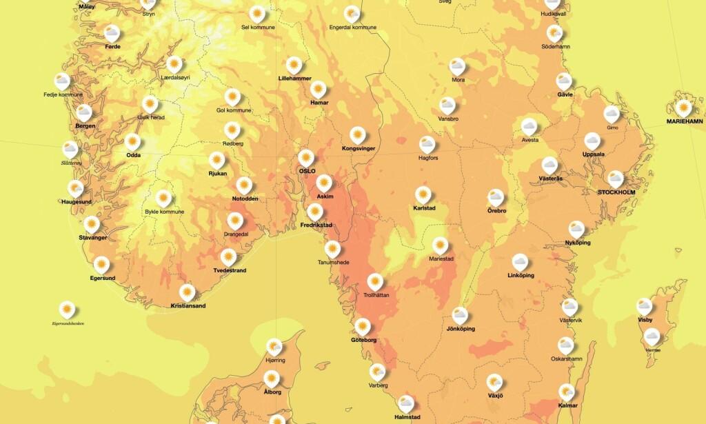 KNALLVÆR: Det er varmt i store deler av Sør-Norge. Foto: Meteorologisk institutt