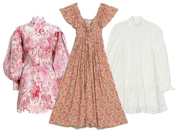 Fra venstre: Kjole fra Zimmermann via Moniker.no, kr 40 799. Kjole fra byTiMo, kr 2299. Kjole fra H&M, kr 699.