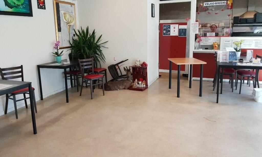 GJEMT SEG: Det påkjørte rådyret la seg i hjørnet på sushi-restauranten, blant stoler og bord. Foto: Leserfoto / Politiet