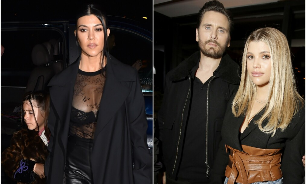 FAMILIE: Sammen med Kourtney Kardashian har Scott Disick tre barn. Nå hevder en kilde at han fremdeles har følelser for eksen. På bildet til høyre står han sammen med Sofia Richie. Foto: NTB Scanpix