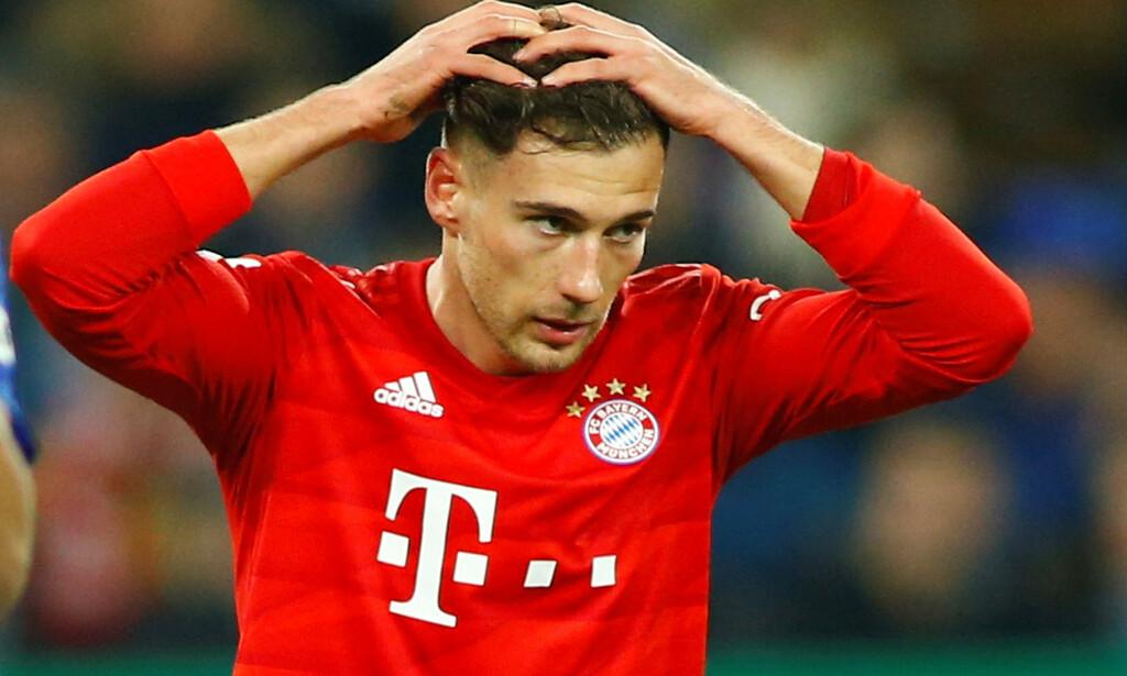 FØR: Dette bildet er tatt i cupkampen mellom Bayern München og Schalke 04 3. mars i år. Bare drøye to måneder senere sjokkerer bildene av armene til Leon Goretzka. Foto: REUTERS/Thilo Schmuelgen