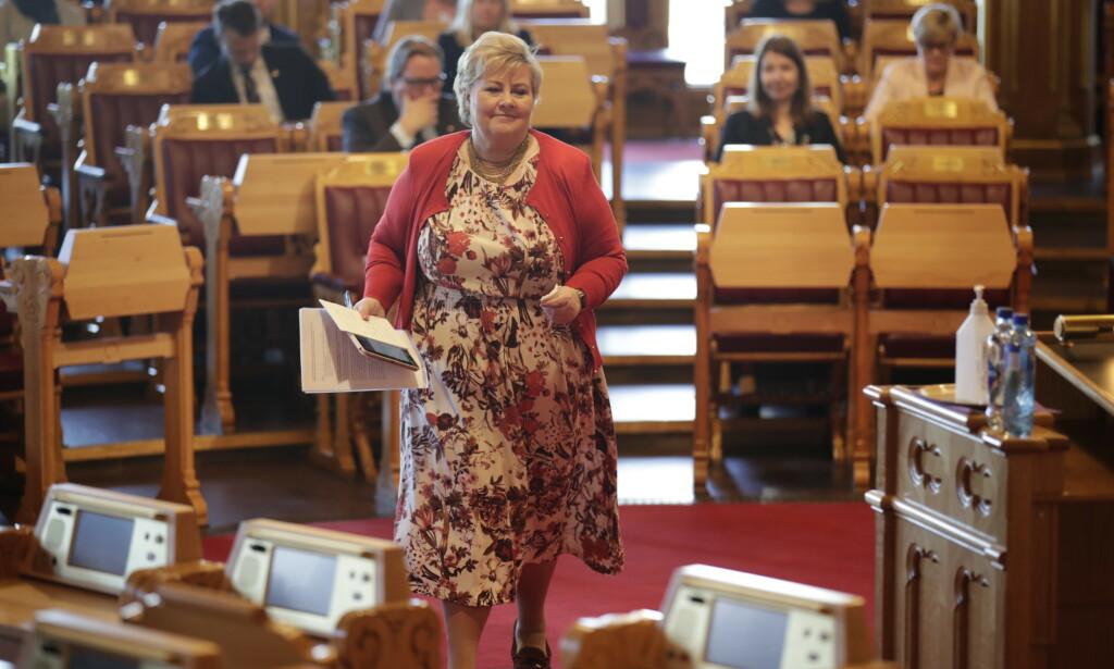 MODERNISERING: Statsminister Erna Solberg (H) i den muntlige spørretimen på Stortinget. Foto: Vidar Ruud / NTB scanpix