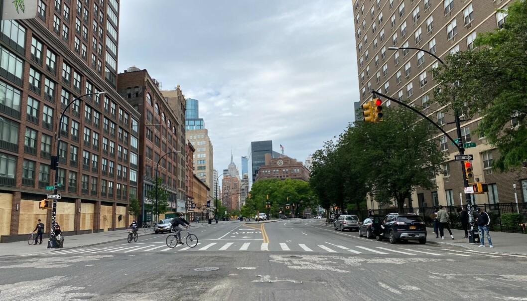 FOLKETOMME GATER: Gatene i New York City bærer tydlig preg av uroen og det påfølgende portforbudet. Foto: Vegard Kristiansen Kvaale/ Dagbladet