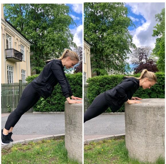 PUSHUP: Du kan fint øve deg på pushup på en høyning. FOTO: Torp & Co