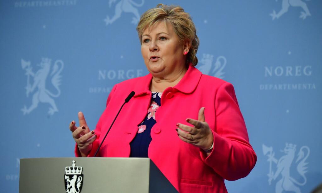 TAR SELVKRITIKK: Statsminister Erna Solberg (H) har tatt selvkritikk for en uttalelse gitt til VG tirsdag. Foto: Lars Eivind Bones / Dagbladet