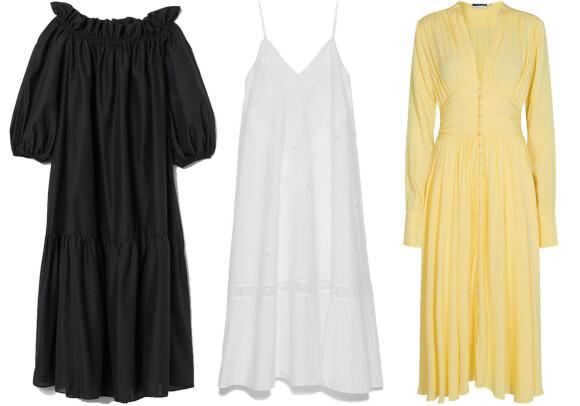 Fra venstre: Kjole fra H&M, kr 299. Kjole fra Zara, kr 899. Kjole fra Rotate Birger Christensen via Moniker.no, kr 2799.