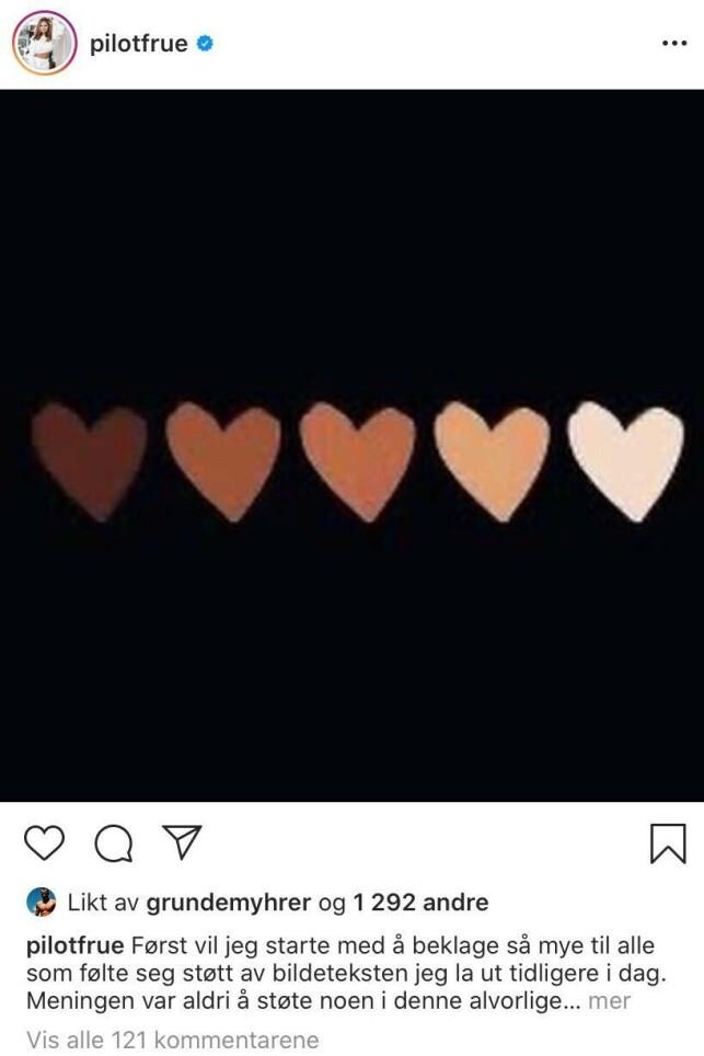 BEKLAGER: Etter den massive kritikken Julianne Nygård mottok som følge av bildeteksten hun delte til et bilde på Instagram, besluttet hun å beklage i form av et nytt innlegg. Foto: Skjermdump fra Instagram/Pilotfrue