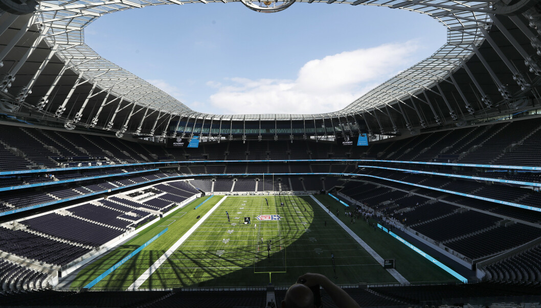 A general view at the Tottenham Hotspur stadium prepared for the NFL in London, Tuesday, July 2, 2019. The NFL makes its debut at the new Tottenham Hotspur Stadium on Tuesday when 150 teenagers take part in NFL Academy: Stadium Showcase, the final tryout for selection in the first intake of the landmark NFL Academy, which will begin operations in September 2019. (AP Photo/Frank Augstein)