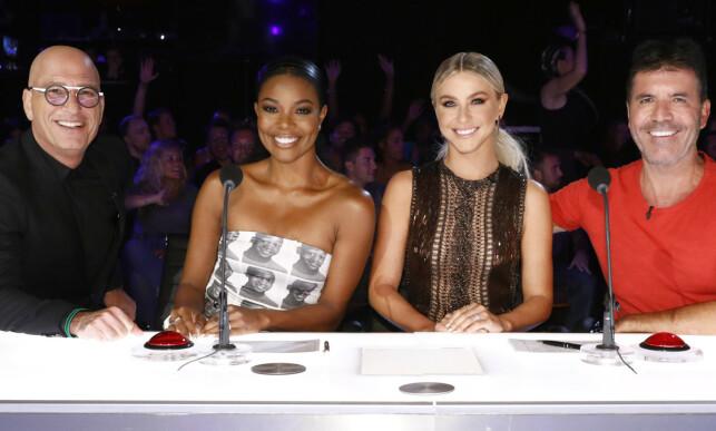 KUN ÉN SESONG: Gabrielle Union fikk ikke fornyet kontrakten sin etter den 14. sesongen av «America's Got Talent». Her med dommere Howie Mandel, Julianne Hough og Simon Cowell. Foto: NTB scanpix