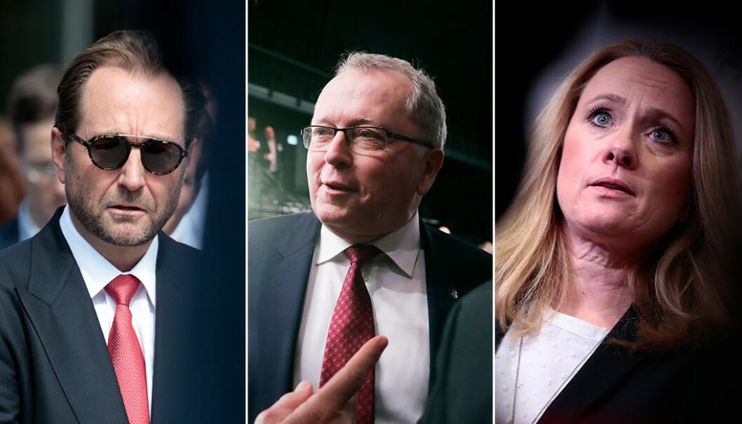 <strong>FIKK MEDHOLD:</strong> Kjell Inge Røkke og Aker, Eldar Sætre i Equinor og Anniken Hauglie i Norsk olje og gass fikk det stort sett som de ville, mener SVs Kari Elisabeth Kaski. Foto: NTB scanpix