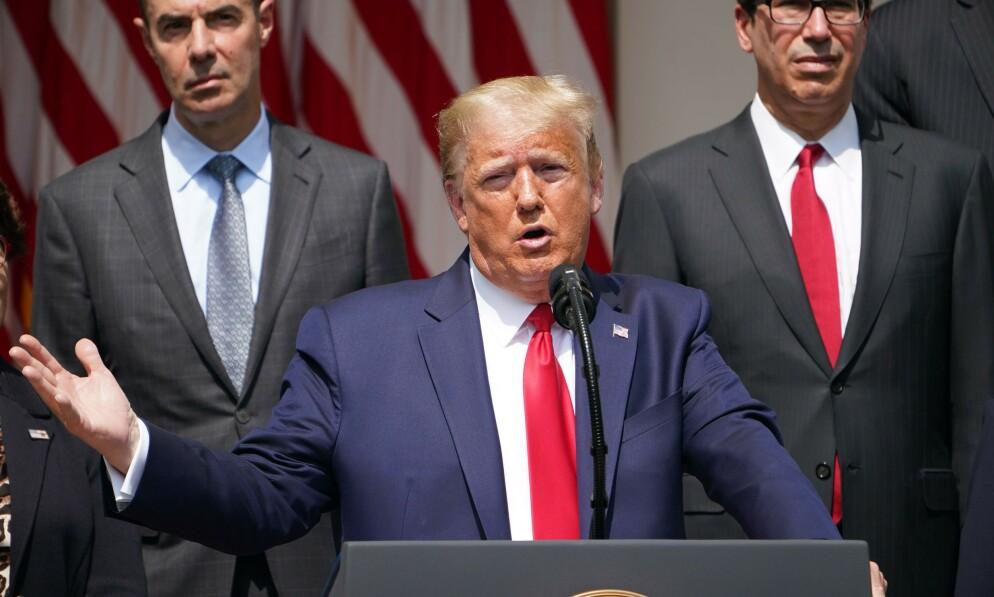 Etter at de positive arbeidsledighetstallene ble lagt fram fredag, inviterte Trump til pressekonferanse. Nå viser det seg at de overraskende tallene skyldes en feil. Foto: AFP