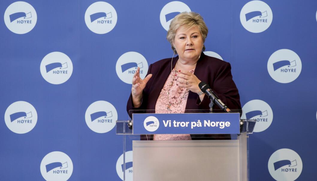 Statsminister Erna Solbergs innledning på Høyres sentralstyre i Oslo. Foto: Vidar Ruud / NTB scanpix