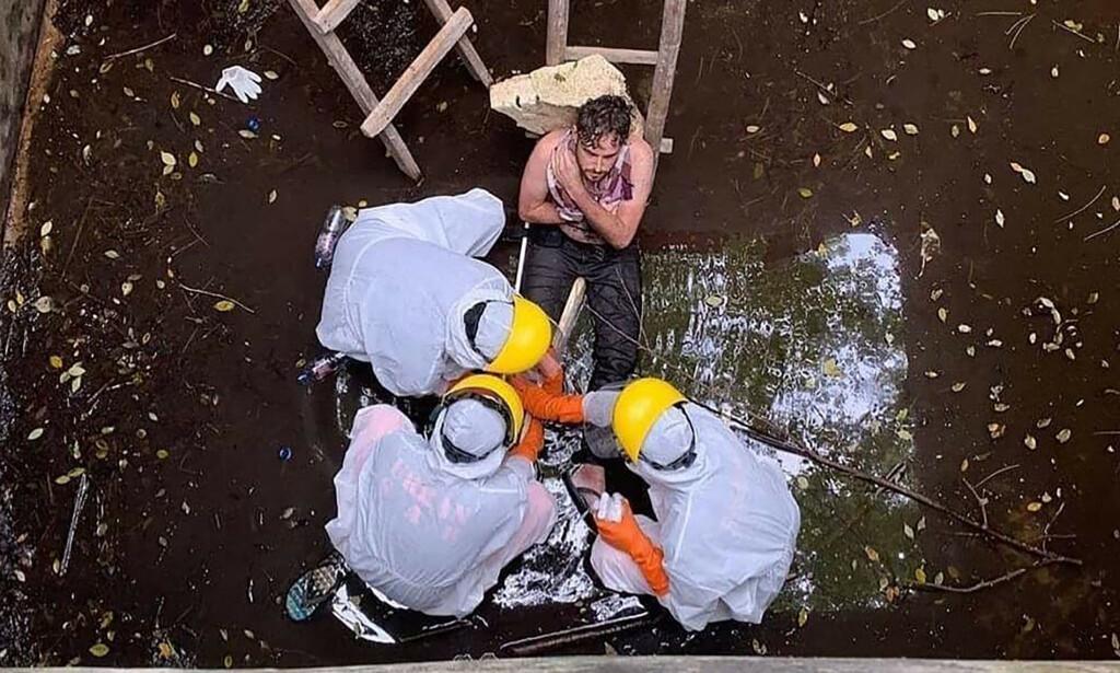 FALT: 29 år gamle Jacob Roberts ble sittende fast i brønnen i seks dager. Foto: NTB Scanpix.