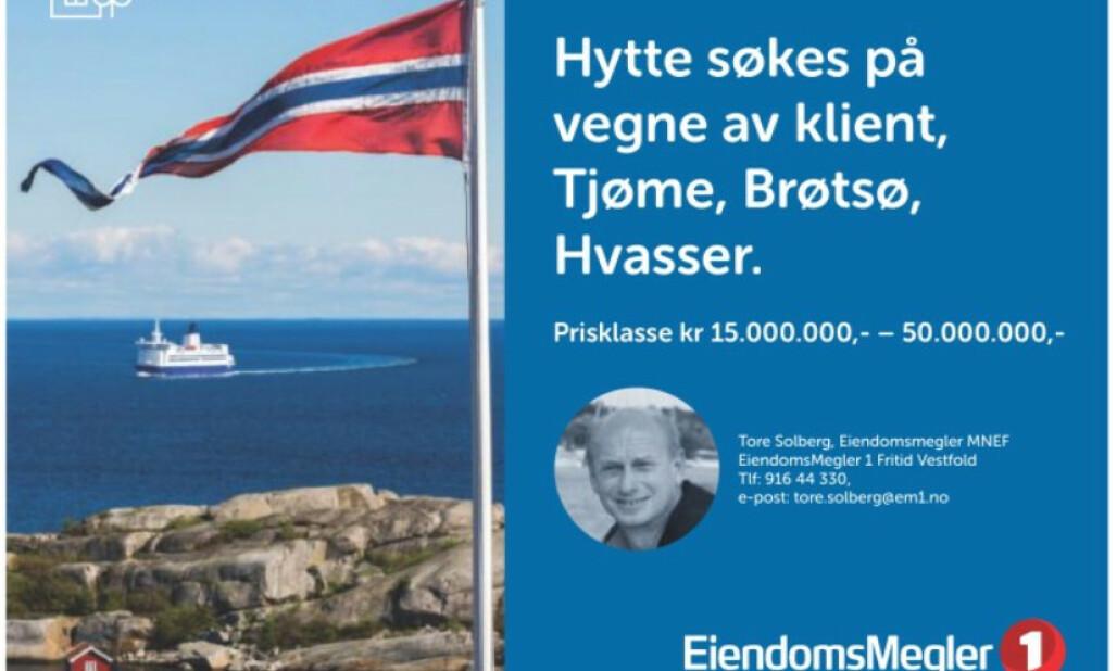 <strong>VIL KJØPE:</strong> Klienten til Tore Solberg har i flere år lett etter hytte, men ikke funnet den rette. Dermed forsøker han seg på denne måten. Foto: Skjermdump