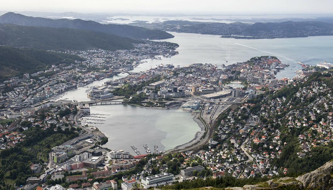 Bydelen Møhlenpris i Bergen, litt til venstre for midten i bildet, er oppkalt etter en slavehandler. Foto: Marit Hommedal / NTB scanpix