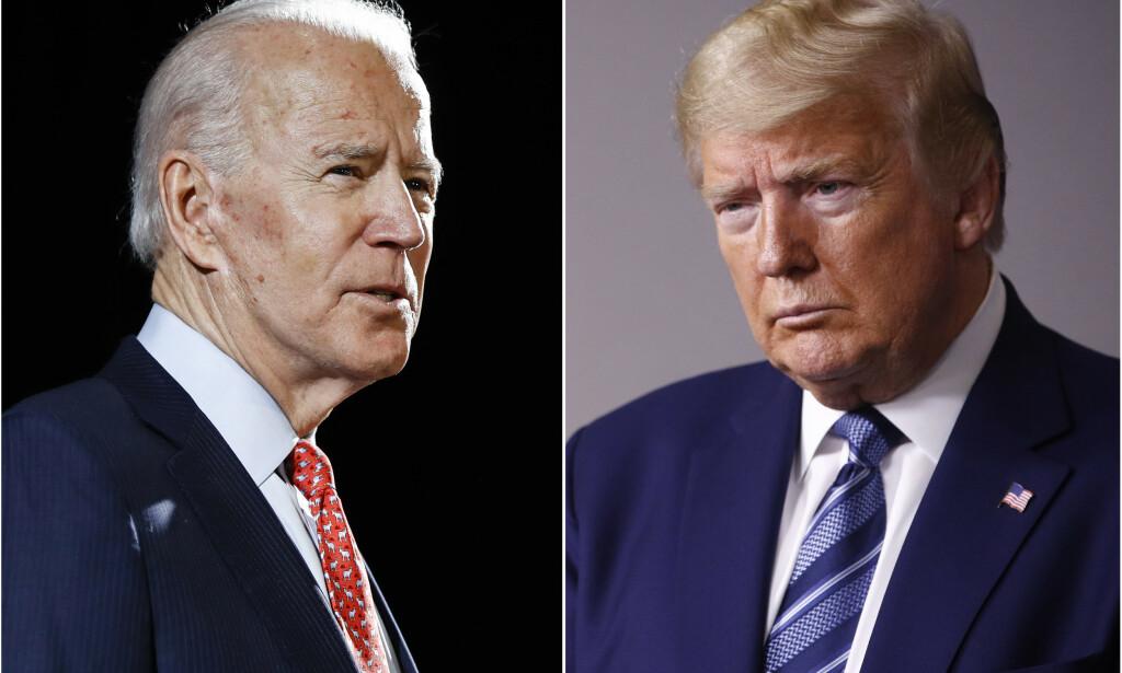 RIVALER: Tidligere visepresident Joe Biden og president Donald Trump skal kjempe om det ovale kontoret i Det hvite hus. Foto: AP Photo