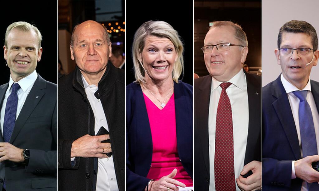 LEDERLØNN: Månedslønna matcher det som ellers er ansett som en god årsinntekt for Yara-topp Svein Tore Holseter, Telenor-sjef Sigve Brekke, DNBs administrerende direktør Kjerstin Braathen, Equinor-topp Eldar Sætre og Kongsberg-boss Geir Håøy. Foto: NTB scanpix / Lars Eivind Bones (bildet av Brekke).