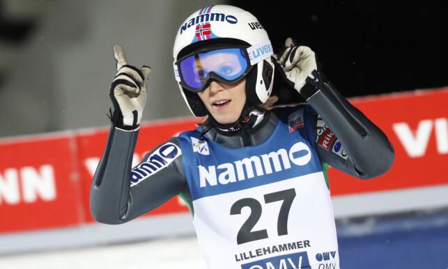 AKTIV: Line Jahr fra da hun var aktiv hopper. Bildet er fra Lillehammer i 2014.  Foto: Cornelius Poppe / NTB scanpix
