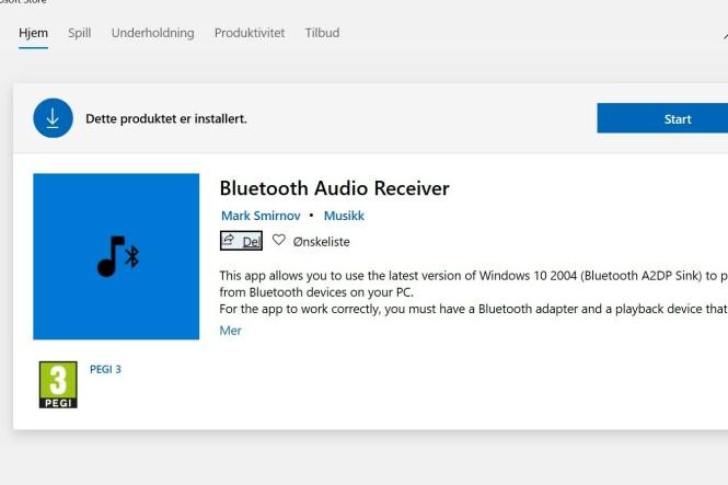 <strong>BLUETOOTH AUDIO RECEIVER:</strong> Dette er appen du må laste ned.