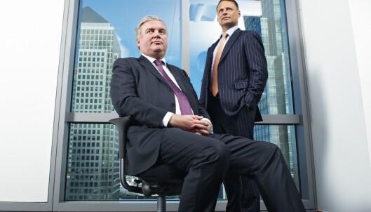 <strong>BANK:</strong> Kim Fournais (t.h.) stiftet i 1992 det som etterhvert skulle bli kjent som investeringsbanken SaxoBank sammen med Lars Seier Christensen. Foto: Micha Theiner / Cityam / REX