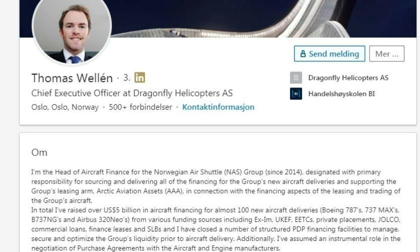 FEM MRD DOLLAR: «Totalt har jeg reist over fem milliarder dollar i flyfinansiering for nesten 100 nye flyleveranser», skriver Thomas F. Wellén på sin LinkedIn-profil.