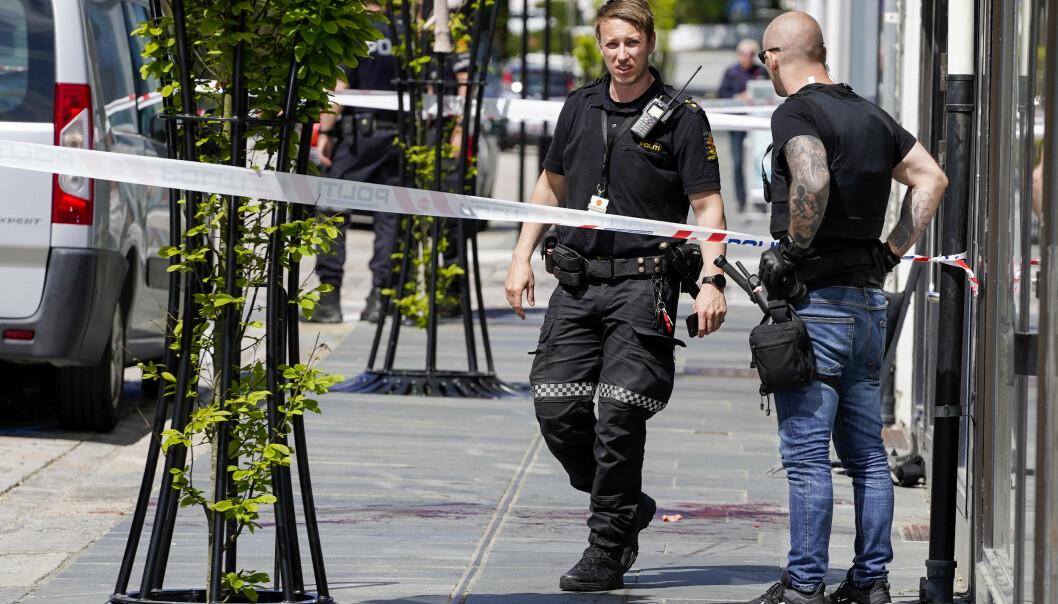Politiet på åstedet tirsdag. Foto: Jan Kåre Ness / NTB scanpix