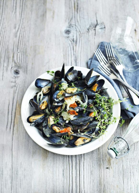 Du kan servere dem med pasta eller pommes frites, eller du kan gjøre som her, og nyte de deilige blåskjellene med godt brød. FOTO: Columbus Leth