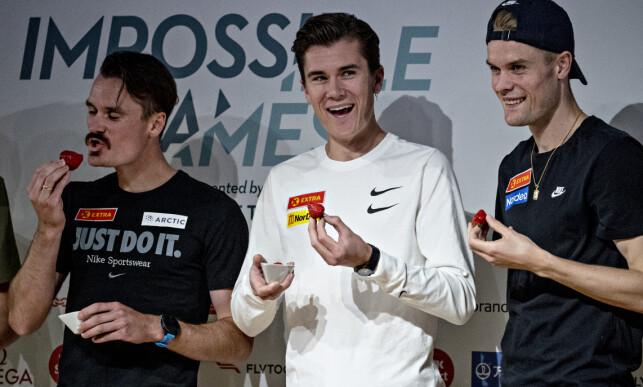 I DUELL: Ingebrigtsen-brødrene er klare til å gi jernet. Fra venstre: Henrik, Jakob og Filip. Foto: Bjørn Langsem
