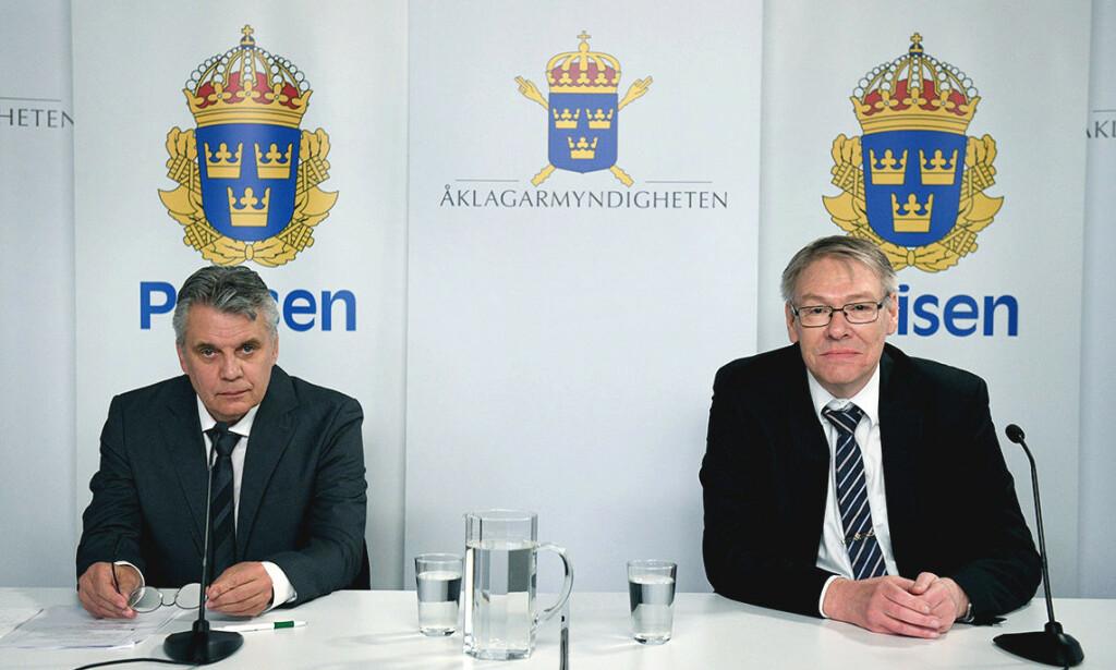 Etterforskningsleder Hans Melander og Palme-gruppens leder Krister Petersson presenterte onsdag sin oppsummering av Palme-saken. Foto: Thomas Carlgren / TT NYHETSBYRÅN / NTB scanpix