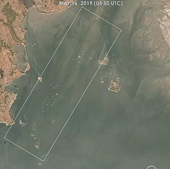 SKIP: På satelittbilder fra 16. mai i fjor har C4ADS klart å identifisere over 100 skip, noe de mener er ekstremt oppsiktsvekkende. Foto: C4ADS