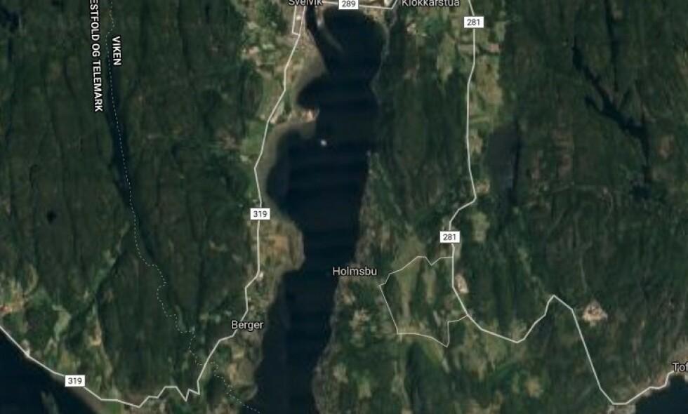 REDDET: Guttene ble reddet i sundet mellom Svelvik og Holmsbu i Drammensffjorden. Foto: Google Maps