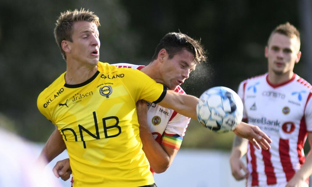 VIL TILBAKE: Både Lillestrøms Thomas Lehne Olsen og Tromsøs Simen Wangberg vil gjøre oppholdet i 1. divisjon så kort som mulig etter at de rykket ned fra Eliteserien i fjor. Foto: NTB scanpix