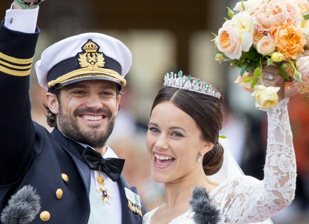 BRYLLUPSDAG: Prins Carl Philip og prinsesse Sofia feirer lørdag fem års bryllupsdag. Foto: NTB scanpix
