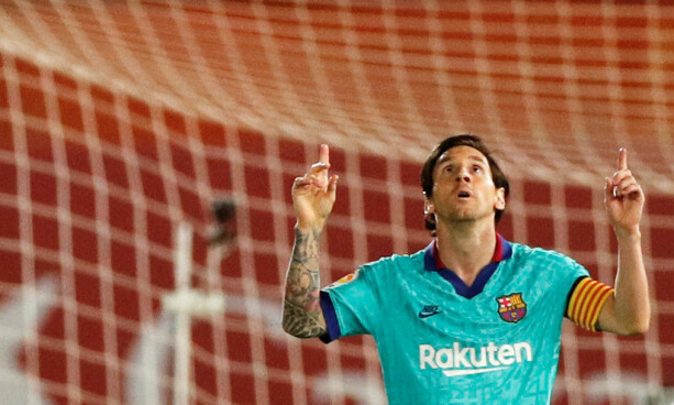FEIRER: Lionel Messi scoret Barcelonas fjerde mål. Foto: NTB scanpix